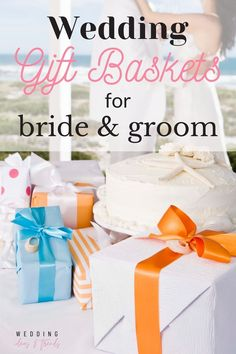 The best thing about a wedding gift basket is the opportunity to create a couples gift opening experience. The Thrill of discovering all those little gifts, and the story you, as the gift-giver, want to tell. Check out these 15 best wedding gift baskets for the bride and groom. From a romantic date night, new exciting decorations items, to helpful gifts for organizing their wedding. Find ideal unique and creative gift basket ideas and inspirations that every new couple will love. Engagement Gifts For Bride, Wedding Gifts For Bride And Groom, Wedding Gifts For Parents, Wedding Gifts For Guests, Best Wedding Gifts, Wedding Welcome Bags, Bride Gifts, Engagement Gift Baskets, Wedding Gift Baskets