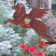 Rusty Finish Metal Australian Shepherd Aussie Dog Garden Art Yard Stake Memorial Angel