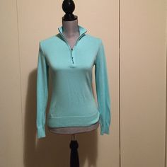 Foxcroft Knit Pullover Mint knit top pullover with half zipper. New without tags! Foxcroft Tops