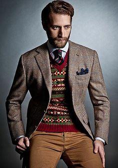 グレンチェックジャケット×フェアアイル柄セーターの着こなし【秋】(メンズ)   Italy Web