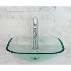 Clear Tempered Glass Vessel Bathroom Sink