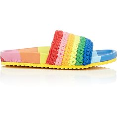 Mira Mikati Women's Rainbow-Striped Knit Slide Sandals (5.367.570 IDR) ❤ liked on Polyvore featuring shoes, sandals, multi, multi colored sandals, knit shoes, slip-on shoes, striped shoes and multi coloured shoes