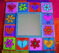 Espejo Corazones y Flores Pitcher Frames, Colorful Paintings, Colorful Rooms, Crafts For Kids, Diy Crafts, Tole Painting, Little Boxes, Box Frames, Easy Projects