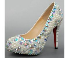 'Precious Princess'  Handmade Pearl and Rhinestone Leather High Heeled Shoes with Red Sole