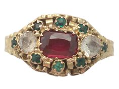 Antique Victorian Paste and 15 ct Yellow Gold Dress Ring