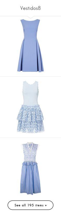"""Vestidos8"" by yblacasa on Polyvore featuring dresses, fit and flare dress, blue fit-and-flare dresses, low cut back dress, low back dress, deep v back dress, blue day dress, blue dress, eyelet dress y antonio berardi dress"