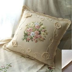 Embroidery Silk Ribbon You can Buy this pillow cover. Beautiful Ribbon Embroidery Crochet Lace Cushion Cover - High quality and beautiful bedding covers, duvets, sheets and pillow cases for zen mood in your bedroom. Cushion Embroidery, Embroidered Cushions, Silk Ribbon Embroidery, Embroidery Needles, Learn Embroidery, Cross Stitch Embroidery, Embroidery Patterns, Embroidery Supplies, Hand Embroidery Tutorial