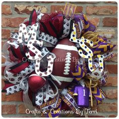 House divided wreath! Mississippi State & LSU football wreath. More wreaths can be found on my Facebook page: www.facebook.com/CraftsandCreationsByTerri or go to my Etsy page https://www.etsy.com/shop/CreatedByTerri