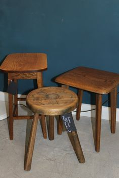 Trio of renovated side tables.