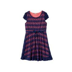 Girls 7-16 & Plus Size Lilt Ribbon Lace Skater Dress, Girl's, Size: 14 1/2, Blue (Navy)
