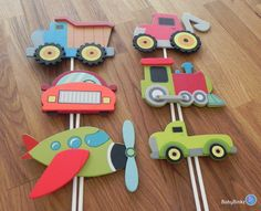 Our Planes, Trains & Automobiles Shape Cake Toppers will be the perfect addition to any transportation themed party! Each set includes 6 Painted Wood