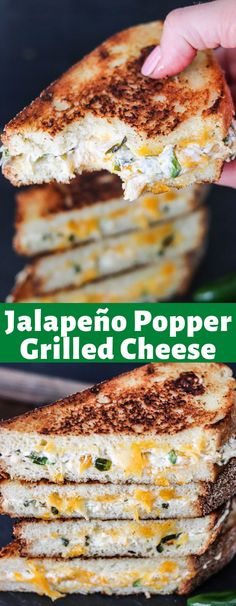 Jalapeno Popper Grilled Cheese is an amazing combination of roasted jalapeños, three cheeses, the perfect blend of spices, and then sandwiched between thick crunchy bread! It's the PERFECT sandwich! Best Sandwich Recipes, Lunch Recipes, Breakfast Recipes, Dessert Recipes, Yummy Recipes, Panini Recipes, Grilled Recipes, Amazing Recipes, Desserts