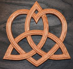 Triquetra with Heart - Trinity Celtic Knot - Red Oak Wall Hanging