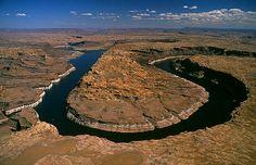 Horseshoe Bend of Colorado River (aerial view) - Lake Powell, Utah, USA
