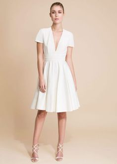 @roressclothes clothing ideas #women fashion  white Short dress with cutouts on back.