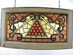 "Stained Glass Billiards Window  Very unique vintage/antique architectural salvage curved stained glass window with billiards motif measuring approximately 39 1/4"" wide x 20 15/16"" tall x 4 5/8"" front to back."
