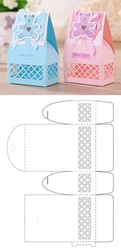 Baby shower little box Creative Box, Creative Gift Wrapping, Creative Gifts, Diy Gift Box Template, Mushroom Crafts, Geometric Origami, Cool Paper Crafts, Box Patterns, Cricut Tutorials