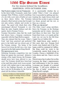 DISASTROUS LOSS MARKS END FOR ANGLO-SAXON ENGLAND For the full report behind these headlines and all the reports, read 1066 The Saxon Times. #thesaxontimes #davidclarke # historywalkstalksandbooks #1066 #history #tes #ks2, ks3 #anglosaxonengland #dukewilliam #kingharold #battleofhastings #waterstones #amazon #britishdesignbritishmade # thebookkeeper Duke William, The Headlines, Anglo Saxon, East Sussex, England, Teaching, How To Plan, History, Amazon