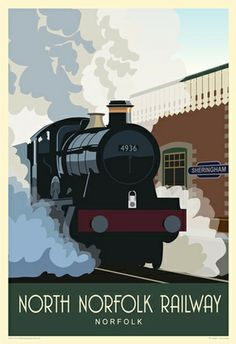 A view of a Steam Train Kinlet Hall 4936 in Sheringham Station, North Norfolk Railway. Poppy Line Train Posters, Railway Posters, Zug Illustration, Canterbury Cathedral, British Travel, Norfolk Coast, Train Art, Bus Travel, Vintage Travel Posters