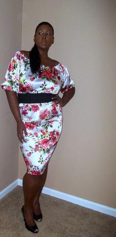 JIBRI Plus Size Off Shoulder Samantha Pencil Dress....looks so amazing against her skin!