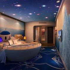 Ultra cool, ocean, stars and sky inspired room!