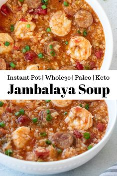 This Instant Pot Jambalaya Soup is quick, easy, hearty and packed with Creole flavors! It comes together in just 25 minutes. This soup is Whole30, Paleo, and Keto. #whole30recipes #souprecipes #easyrecipes #instantpotrecipes #jambalaya #jambalayasoup #creole #spicy #easyrecipes #paleorecipes #whole30 #ketorecipes