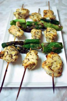 Chicken & Asparagus kebobs. Simple, tasty. Perfect summer meal. I will grill them next time for sure. -KM