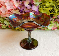 Beautiful Northwood Carnival Glass Compote Footed Bowl Blossomtime Amethyst…