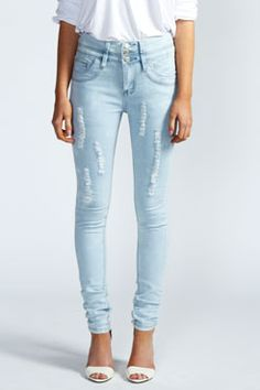 Honor High Waisted Ice Wash Skinny Jeans