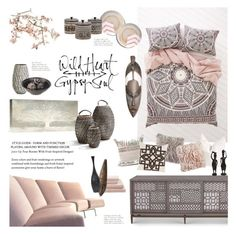 """""""Feminine Tribal Decor"""" by happilyjynxed ❤ liked on Polyvore featuring interior, interiors, interior design, home, home decor, interior decorating, Magical Thinking, Big Canvas Co., NOVICA and Artifort"""