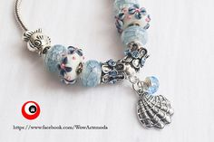 White Azure European Style Bracelet with stunning white blue flower Murano Charms, Seashell and little sea color swarovski. WoWArteModa, €9.90