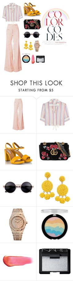 """Untitled #94"" by xoutfiter ❤ liked on Polyvore featuring Rosie Assoulin, Solid & Striped, Fratelli Karida, Gucci, Humble Chic, Audemars Piguet, Forever 21, e.l.f. and NARS Cosmetics"