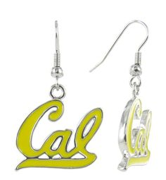 Yellow Cal Script Fish Hook Earrings