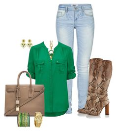 """""""Slithering Emerald Gold"""" by sweetnuff ❤ liked on Polyvore featuring ONLY, Forever New, Gucci, Yves Saint Laurent, Sequin, Roberto Cavalli, Kenneth Jay Lane and Marc Jacobs"""