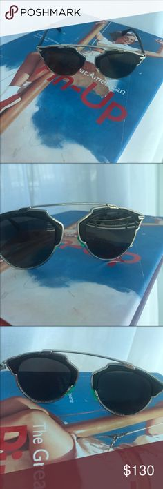 Christian Dior So Real Sunglasses Dior So Real authentic Sunglasses Black frame and green nose pads. Color Code XO2-OJ- Lens size 48mm, bridge size 22mm, temple length 140mm. Material metal. It's does has some scratches Christian Dior Accessories Sunglasses