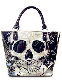 """Death Moth"" Tote Bag by Voodoo Vixed (Black) | Inked Shop - www.inkedshop.com#inked #Inkedmag #Inkedgirls #inkedpurses #purse #deathmoth #totebag #skulls #blackandwhite"