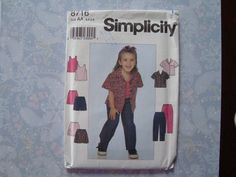 Girls' Shirt, Tank, Skirt, Shorts And Pants/ Simplicity 8716 Sewing Pattern Childs Size 3,4,5,6/ Casual, Play, Elastic Waist, Pocket Uncut