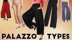 Explore 26 different types of women's wide-leg palazzo pants to show off fun & flirty styles with Kurtis and Tops. Useful Palazzo patterns/designs for stitching too.