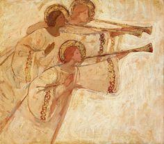 Kirk Richards - Art - Three Angels With Trumps Catholic Art, Religious Art, Angel Flying, Angel Artwork, Christian Artwork, Lds Art, Angel Images, Biblical Art, Angels Among Us