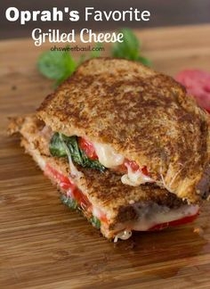 Oprah's Favorite Grilled Cheese with havarti, tomato, basil, honey and whole wheat bread #sandwich #recipe ohsweetbasil.com-3