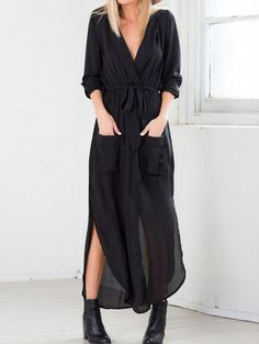 85408c4b55 Black Deep V Neck Self-Tie Pockets Chiffon Dress Slutty Longsleeve Kaftan