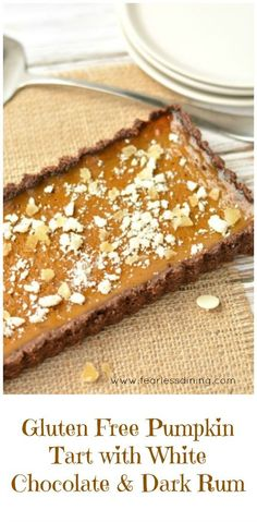 Easy gluten free pumpkin tart with white chocolate, candied ginger, and dark…