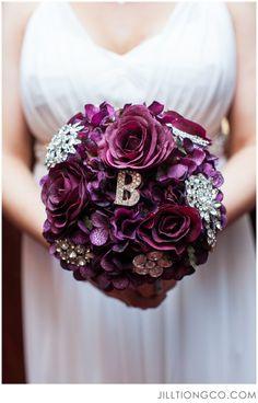 Dark purple and silver brooch bouquet. Love this idea!