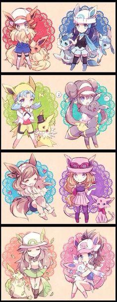 Pokemon heroines as the eeveelutions