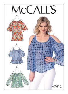 McCall's Pattern M7412 Misses' Gathered, Cold-Shoulder Tops and Tunic