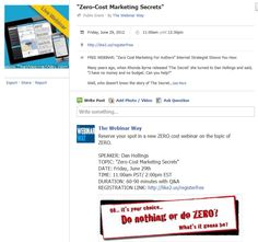 """Zero-Cost Marketing Secrets"" June 29th 11:00 PST/ 2:00 EST  WEBINAR registration link: http://like2.us/registerfree"