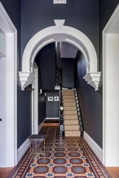 Barcom terrace: a heritage architecture with contemporary interior and deco Hall Tiles, Tiled Hallway, Dark Hallway, Hallway Flooring, Entry Hallway, Foyer, Entrance Hall, Hallway Console, Entryway