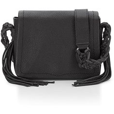 Rebecca Minkoff Wendy Small Leather Crossbody Bag (7.375 CZK) ❤ liked on Polyvore featuring bags, handbags, shoulder bags, black, leather crossbody handbags, fringe crossbody, leather purse, fringe purse and crossbody shoulder bags