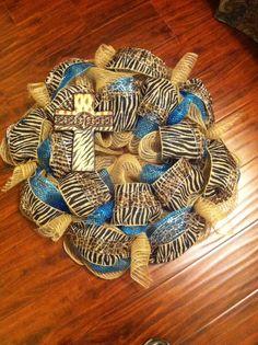 Animal cross burlap wreath