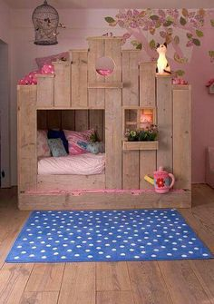 Cute little girls bed bedroom idea. Girly fort treehouse, no boys allowed.